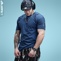 Aimpact Cotton Mens Tshirts Vintage Ripped Hole Hip Hop T Shirt Men Fashion Casual Streetwears Mineral