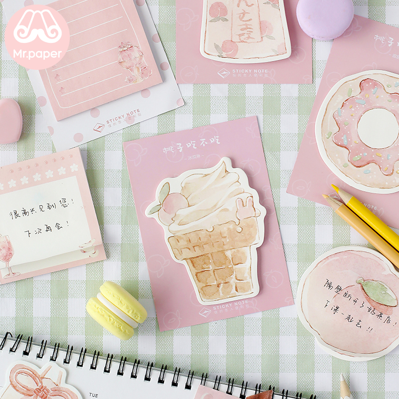 Mr Paper 30pcs/lot 8 Designs Delicious Peach Memo Pads Sticky Notes Notepad Diary Creative Stationery Self-Stick Notes Memo Pads