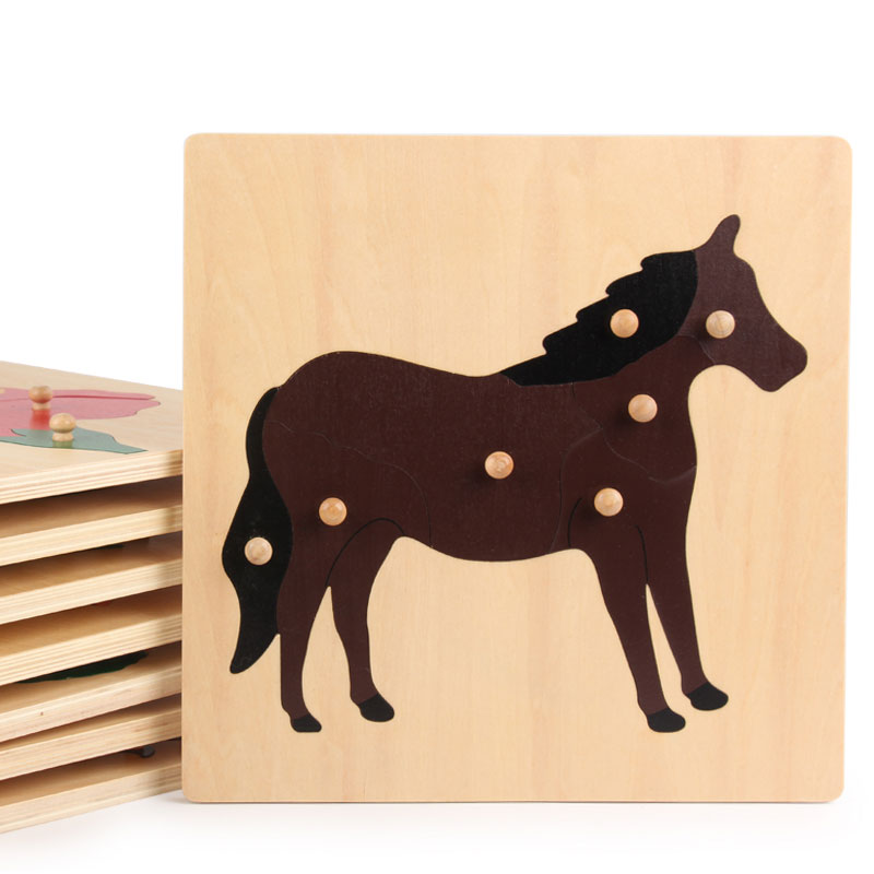Wooden Montessori Toys Infant Biology Horse Animal Board Preschool Educational Learning Toys for Kids Birthday Gift