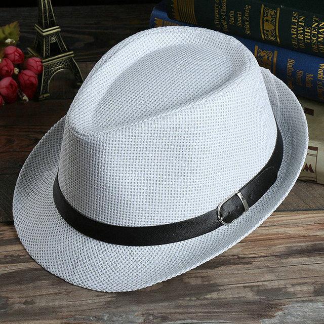 da8a8780a US $2.79 30% OFF|Aliexpress.com : Buy 7 Style Unisex Summer Beach Hat Men  Women Sun Jazz Panama Gangster Cap Adult Trilby Fedora Couples Beach Hats  ...