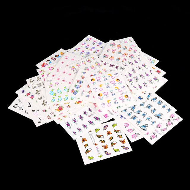 50 Sheets Full Cover Flowers Nail Art Water Transfer Stickers Manicure Decals Hot Selling