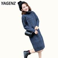 YAGENZ Autumn Winter New Korean Turtleneck Pullover Sweater Ladies Clothing Loose Medium long Sweater Dress Warm Women Sweater