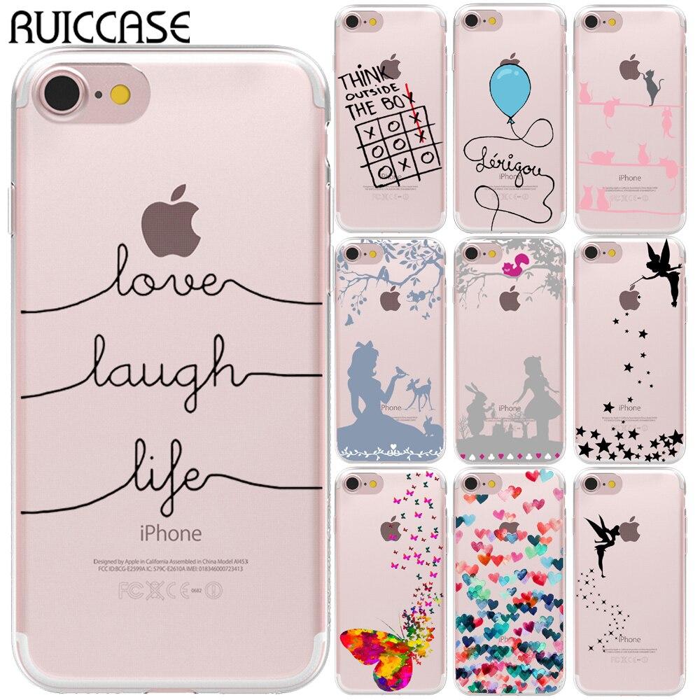 Coque en silicone TPU souple Love riez Life pour Coque iPhone 5 5S SE 6 6S 7 8 Plus X XS 11 Pro Max XR Coque arrière en fée clochette papillon