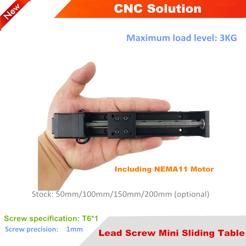 Lead Screw Mini Sliding Table NEMA11 Motor T6 1 Stroke 50 200mm Square Rails Cross Slide