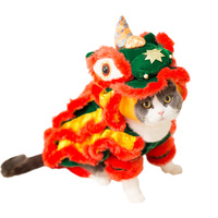 Funny Pet Cat Costume Lion Dance Clothes For Small Dogs Chihuahua Yorkie Halloween Christmas New Year Party Masquerade Dress Up