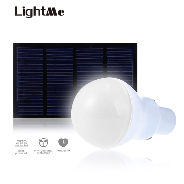 US $7 37 27% OFF|Lightme Outdoor LED Bulb 5V 1 5W 130LM Solar Power LED  Light Garden Lamp Portable Lamps Solar Panel Light For Fishing On Sale-in  LED