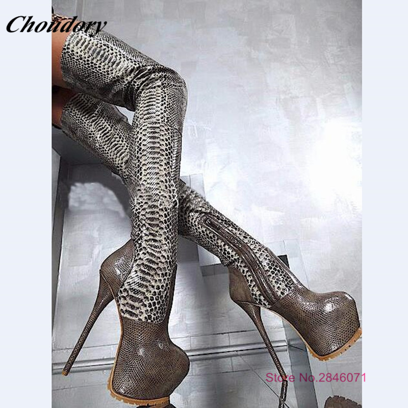 1cba1121196 US $140.26 30% OFF|2019 Hot Fashion Sexy Designer Shoes Super High Heels 16  cm Python High Heels Over The Knee Boots High Platform Thigh High Boots-in  ...