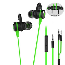 Buy In-ear Earphone With Microphone Wired Magnetic Gaming Headset gamer Stereo Bass Earbuds sport earphones for computer and phone