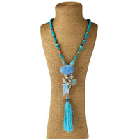 KMVEXO Boho Handmade Long Stone Beaded Shell Chain Necklaces Bohemian Pompom Tassel Pendant Necklace Women Shell