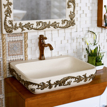 The basin that wash a face of carve patterns or designs on woodwork lavabo man-made stone basin sanitary ware on stage