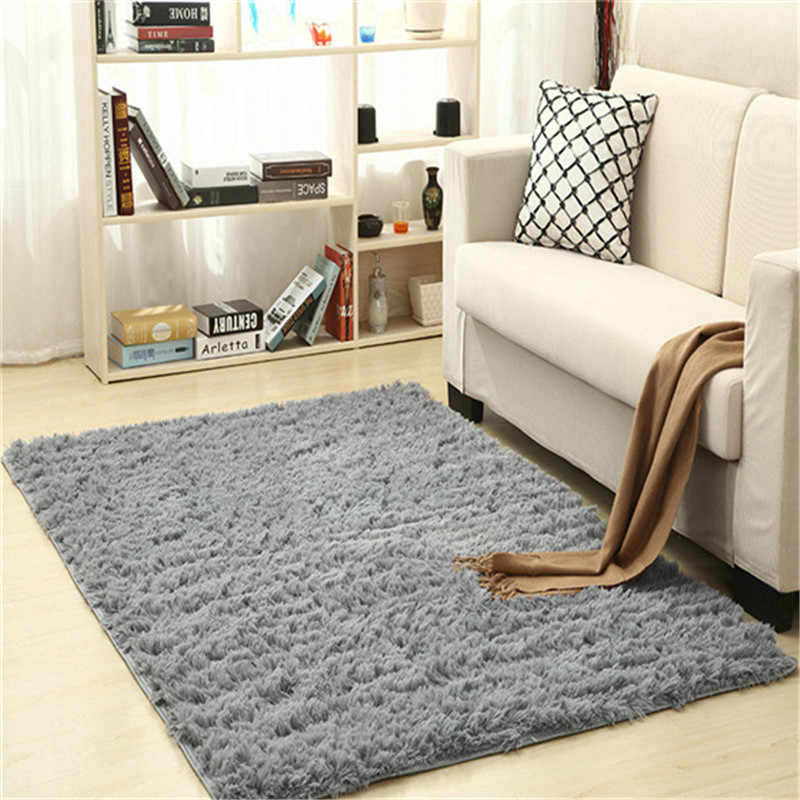Super Soft Silk Wool Rug Indoor Modern Shag Area Rug Silky Rugs Bedroom Floor Mat Baby Nursery Rug Children Carpet