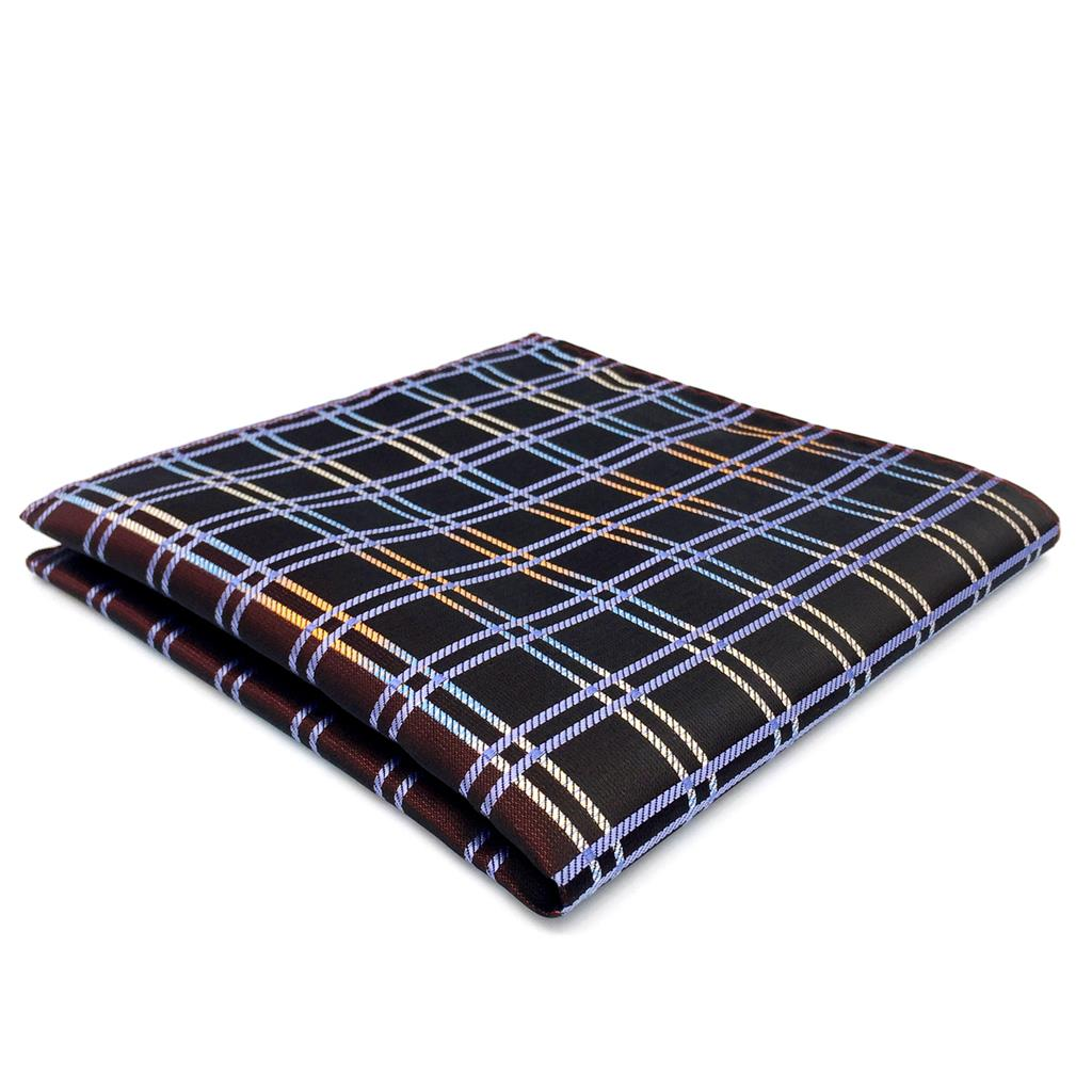 FH02 Brown Checkes Mens Pocket Square Silk Classic Ties For Men Business Hanky
