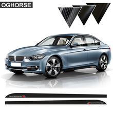 цены на 2Pcs Car Syling Side Stripe Skirt Sill Vinyl Decal Sticker M Performance for BMW 3 Series E90 E91 E92 E93 318i 320i Accessories  в интернет-магазинах
