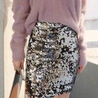Cakucool Silver Sequined Skirt Slim Straight Midi Skirt Embellish Beading High Waist Skirts Designer Gold Green Bling Sexy Skirt
