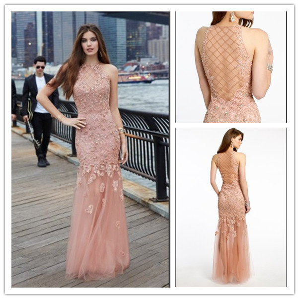 Blush Color Mermeid Long Prom Dresses 2015 Sexy Sheer Back Ball