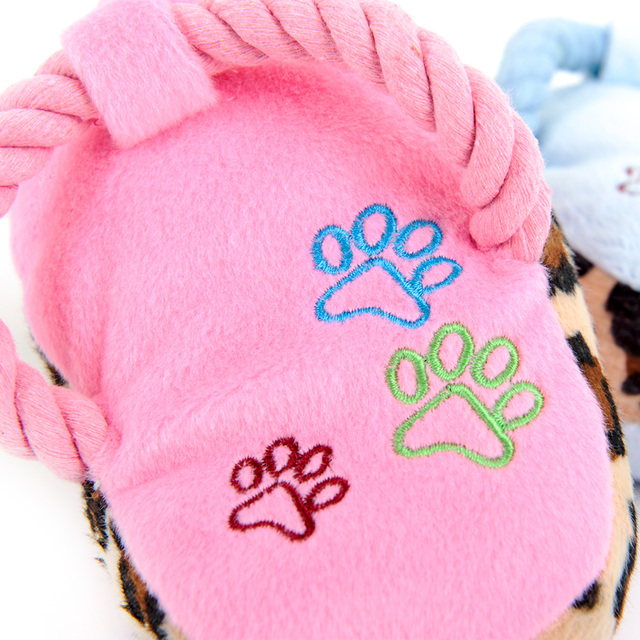 HOOPET Dogs Toy Pet Blue Puppy Chew Play Cute Plush Slipper Shape Squeaky Supplies Factory Direct