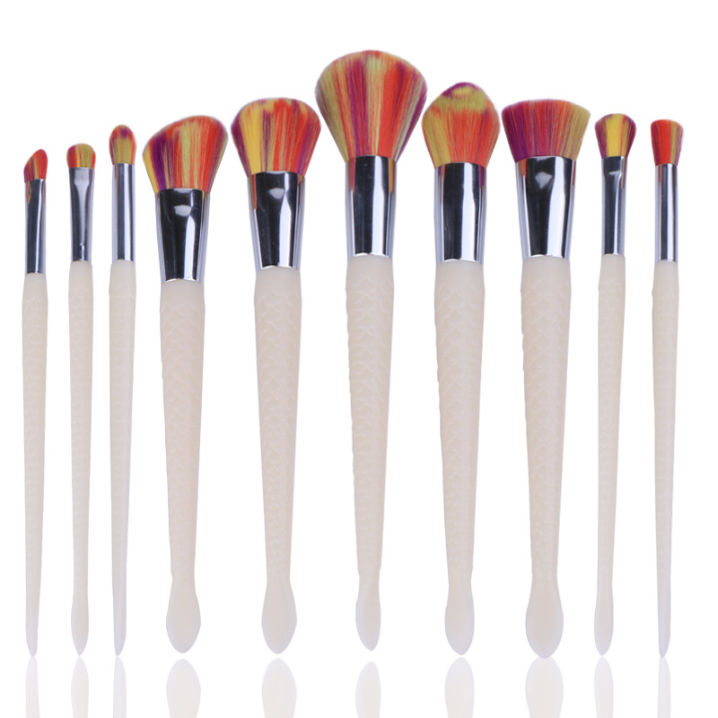 10Pcs Mermaid Fish Shaped Makeup Brushes Set Eyeshadow Powder Foundation Cosmetic Brushes White Jade Handle Fishtail Brush Kits
