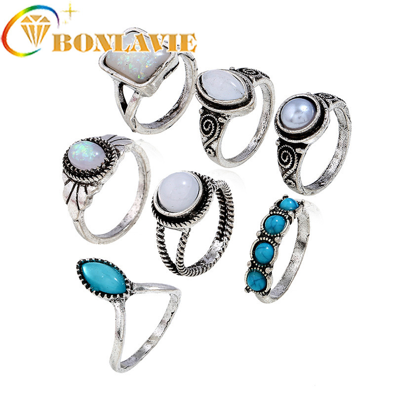Women Fashion Retro green stone Knuckle Fingers Ring Bohemia Antique Silver Color Rings Sets Bagues Femme for woman