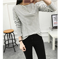 Hitz Fashion Round Neck Black and White Striped Long Sleeve T shirt Women Casual Loose Lady Tops Round Neck Tee Shirt Femme 2XL
