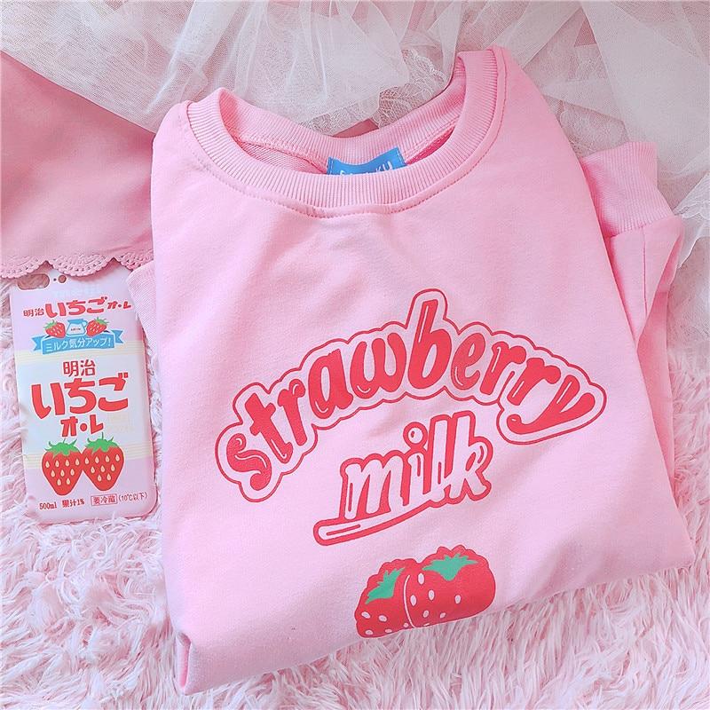 K-pop Harajuku Carta Impressão Morango Rosa Moletons Outono 2018 Kpop Kawaii Estilo Coreano Além De Veludo Moletom Mulheres Topos