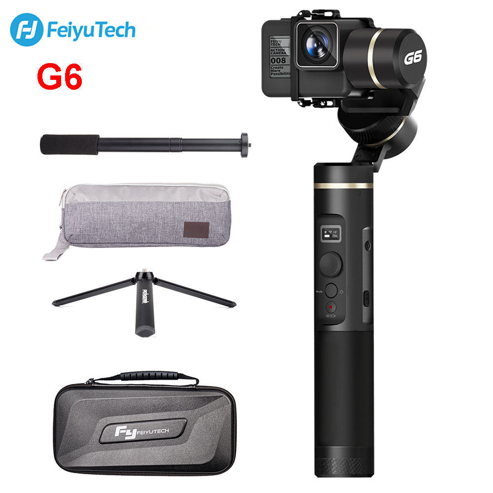 FeiyuTech G6 Splashproof Handheld Gimbal Action Camera Wifi + Blue Tooth OLED Screen Elevation Angle for Gopro Hero 6 5 Sony RX0 feiyutech g6 gimbal feiyu action camera wifi blue tooth oled screen angle for hero 6 5 4 rx0 with mini tripod for gift