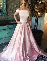 Lovely Light Pink Long Dress Evening Off The Shoulder Boat Neck A Line Formal Occasion Dresses 2019 High Quality Robe De Soiree