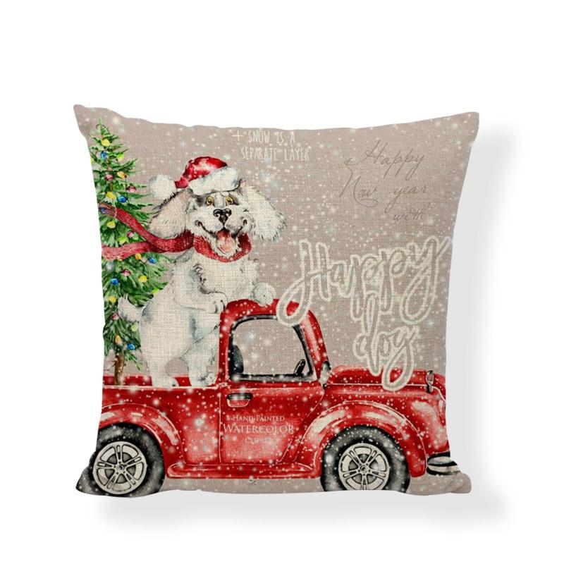 Merry Christmas Cushion Cover Christmas Tree Car Snowman Sledding Print Linen Pillowcase Home Sofa Chair Shopping Window Decor