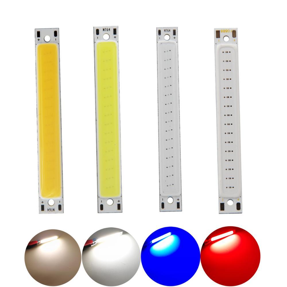 Купить с кэшбэком 10pcs/lot 3V 3.7V DC 60x8mm LED COB Strip 1W 300mA 100LM Warm Cold White Blue Red COB LED light source module for DIY work lamp