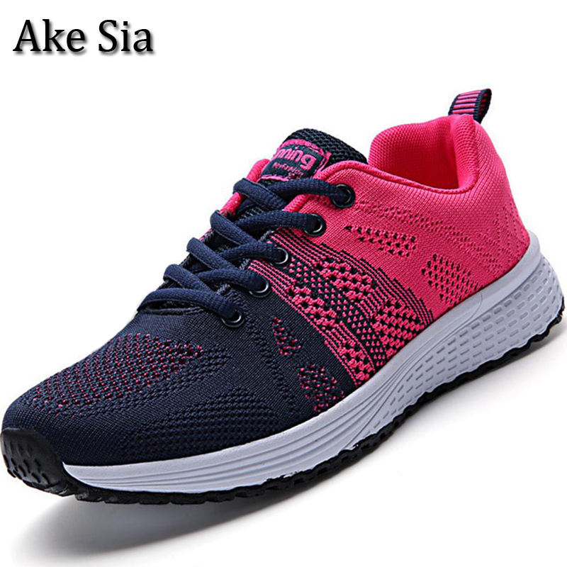 Ake Sia 2017 Trendy Newest Womens Mujer Lightweight Breathable Air Mesh Lace Up Casual Shoes Flat Sneakers Zapatillas Shoes F093