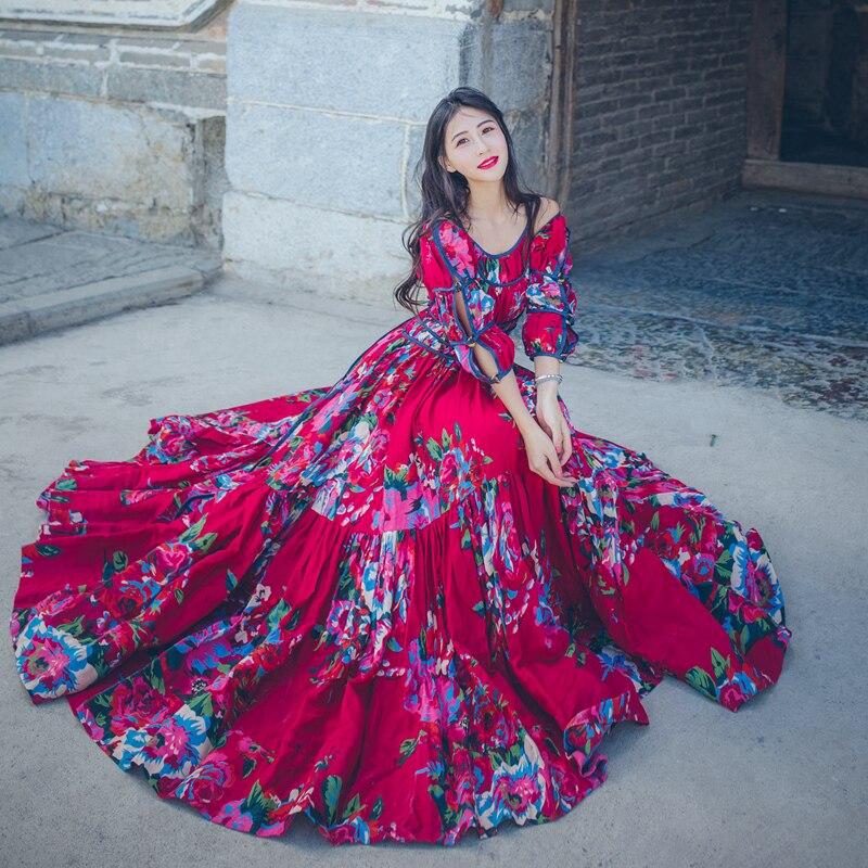 Indie Folk Style Floral rouge Robe licou cou hors épaule lâche élégant Robe Midi femmes mode Robe Vestido Mujer Robe Femme