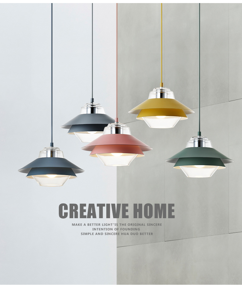 Nordic colorful led Pendant Light Denmark Home foyer Modern Hanging Lamp metal Lampshade Bedroom/Kitchen island pendant Light