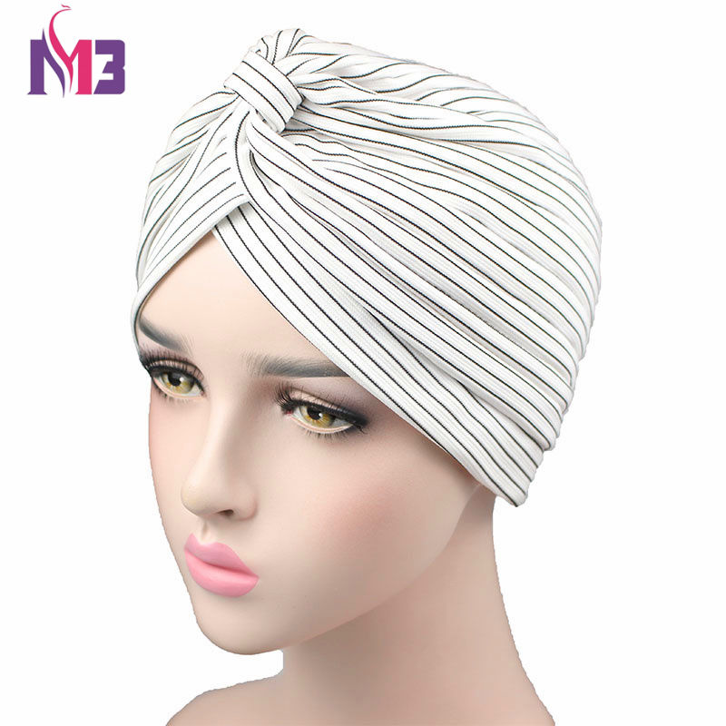 New Fashion Women Turban Knitted Striped Breathable Turban Twist Headband Muslim Turban Hat Hijab Hair Accessories   Headwear