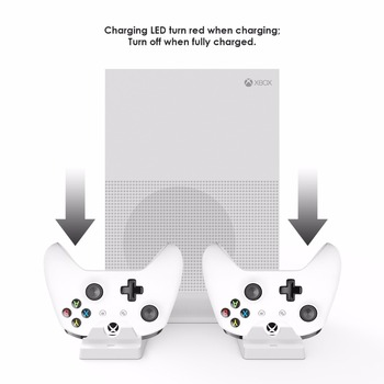 GameSir W60X610 Multifuction console stand For Xbox One S, Dual Controller Charging Station and 2 USB Ports, White