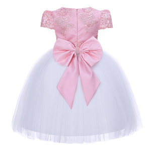 Image 2 - Pettigirl Girls Flower Feast Party Dress Big Bow Beading Pink Princess Dress With Hairhand Kids Boutique Wedding Clothes 1082
