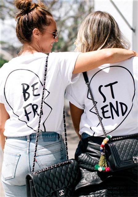 Футболки для лучших друзей женщин летом 2016 женщины панк рок майки лучший друг печатных о-образным вырезом с коротким рукавом хлопок топы