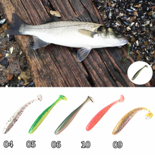 Noeby 24 pieces 9cm 4.3 silicone bait soft lures T tail swimbaits soft fishing baits double color Wobbler Carp Fishing lure