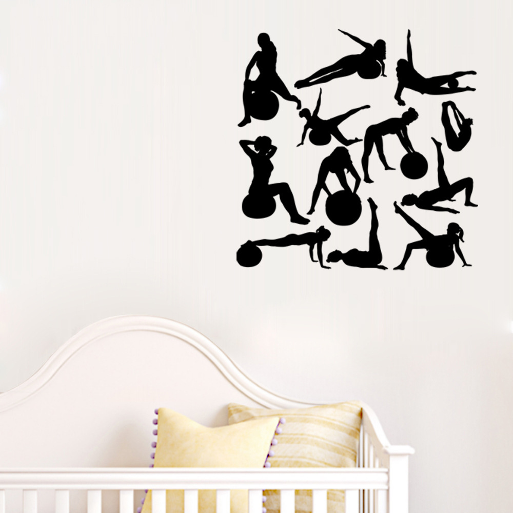 New personality girl sports silhouette wall stickers yoga room new personality girl sports silhouette wall stickers yoga room health room sports decals living room bedroom decoration murals in wall stickers from home amipublicfo Image collections