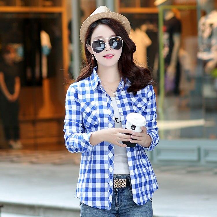 2018 Marken Neue Frauen Kariertes Hemd Blusas Blusen Frauen Mode 100% Baumwolle Flanell Casual Shirts Plus Größe Kleidung
