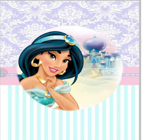 Colorwonder Photography Background Princess Jasmine with Castle 5x7ft Purple Wall with Printing Blue with White Stripes Backdrop
