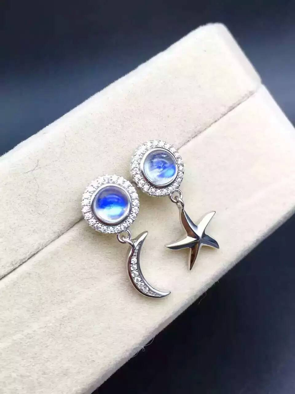 natural moonstone drop earrings 925 silver natural blue gemstone earrings women personality fashion moon drop Earrings for party