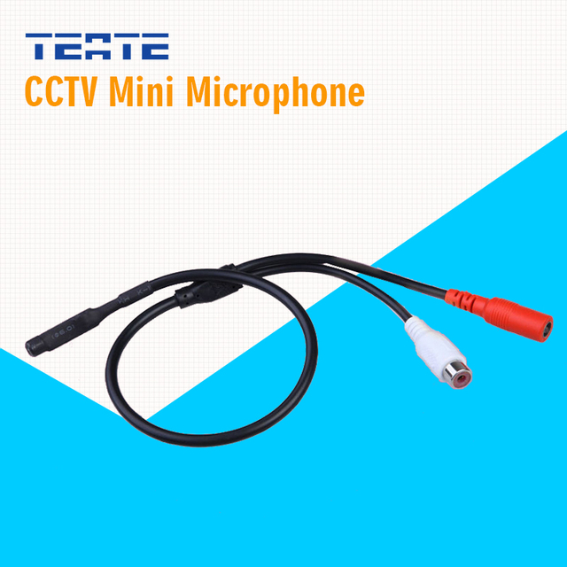 TEATE Camera Mini Microphone for CCTV camera Audio pick up in wide range Small Mic get high quality voice TET-G01CAB