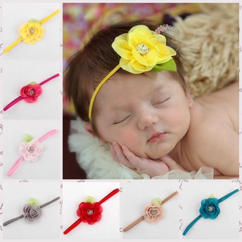 ᐃGasa flor verde hojas diamante Bandas para la cabeza para el bebé ...