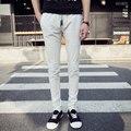 Calças de fitness homem casual slim fit designer de roupas calças dos homens calças de linho fino moletom branco EM13