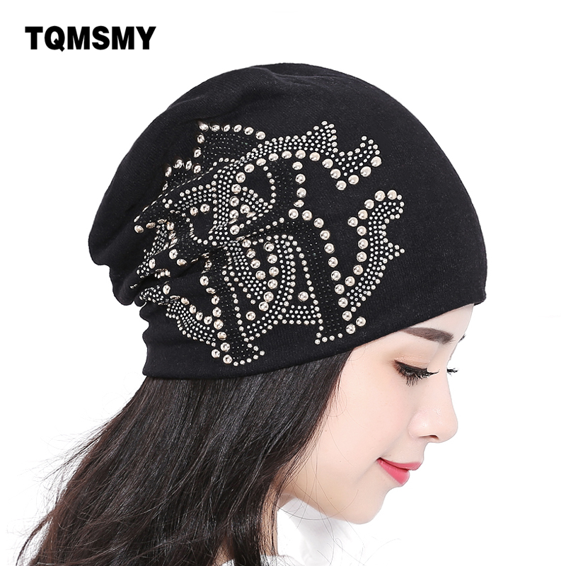Autumn And Winter Knitted hats for Women beanies Lady skullies Diamond pearl hat Hip-hop Cap gorro bonnet womens turban caps 2016 limited gorro gorros brand new women s cotton hip hop ring warm beanie cap winter autumn knitted hats beanies free shipping