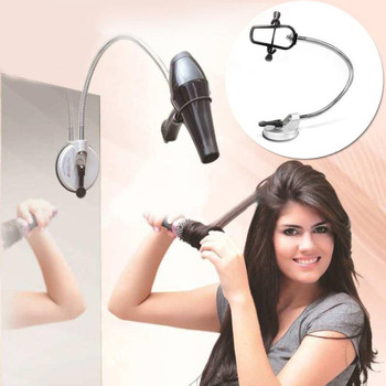 цена на Hands Free Hair Dryer Holder 360 Degrees Rotation Flexible Hairdryer Organizing Holder Stand Rack Suction Cup Pet Grooming Table