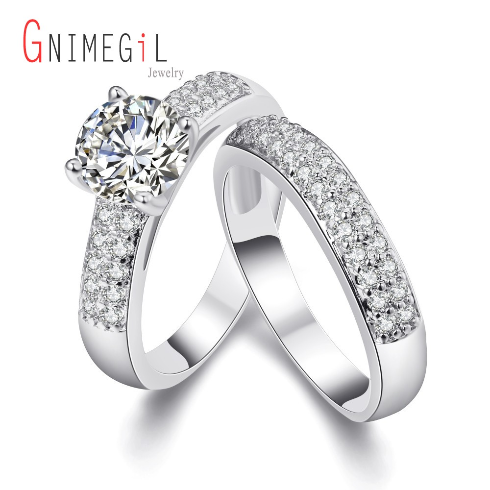 GNIMEGIL Jewelry Promise Engagement Double Rings For Couples Men Women Gold Color Pairs Wedding Ring Set for Lovers