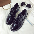 AD AcolorDay Fashion High Quality Brogues Derby Shoes Women Round Toe Lace Up Patent Leather Oxford Shoes for Women Luxury Brand