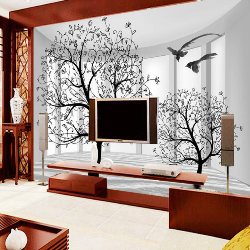 Abstract black and white tree background Wallpaper for Walls 3d Wall Paper Mural Wallpapers Home Improvement Decorate shinehome abstract brick black white polygons background wallpapers rolls 3 d wallpaper for livingroom walls 3d room paper roll