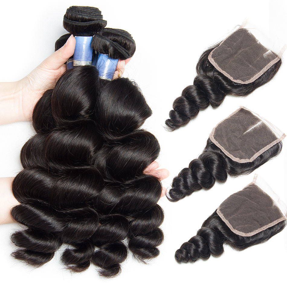 Malaysian Hair Bundles with Closure Remy Human Hair Lace Closure and 3 4 Bundles Deal Alibele