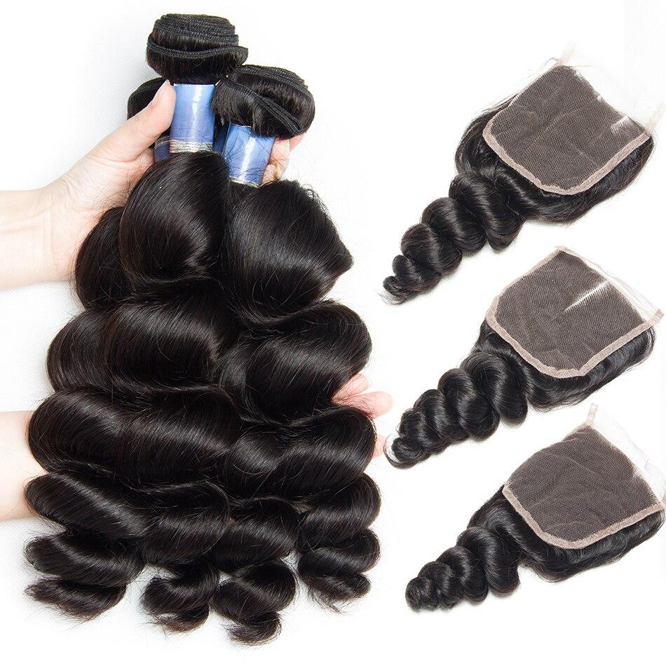 Faisceaux de Cheveux malaisiens avec Fermeture Remy de Cheveux Humains Dentelle Fermeture et 3 4 Bundles Offre Alibele Vague Lâche Bundles Avec fermeture